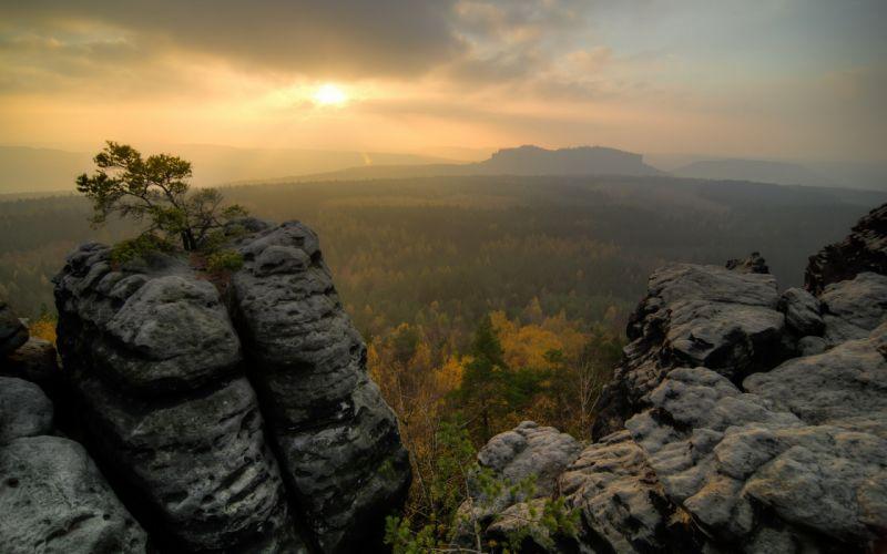Sunlight Landscape Trees Rock Stone sunrise sunset autumn sky mountains wallpaper