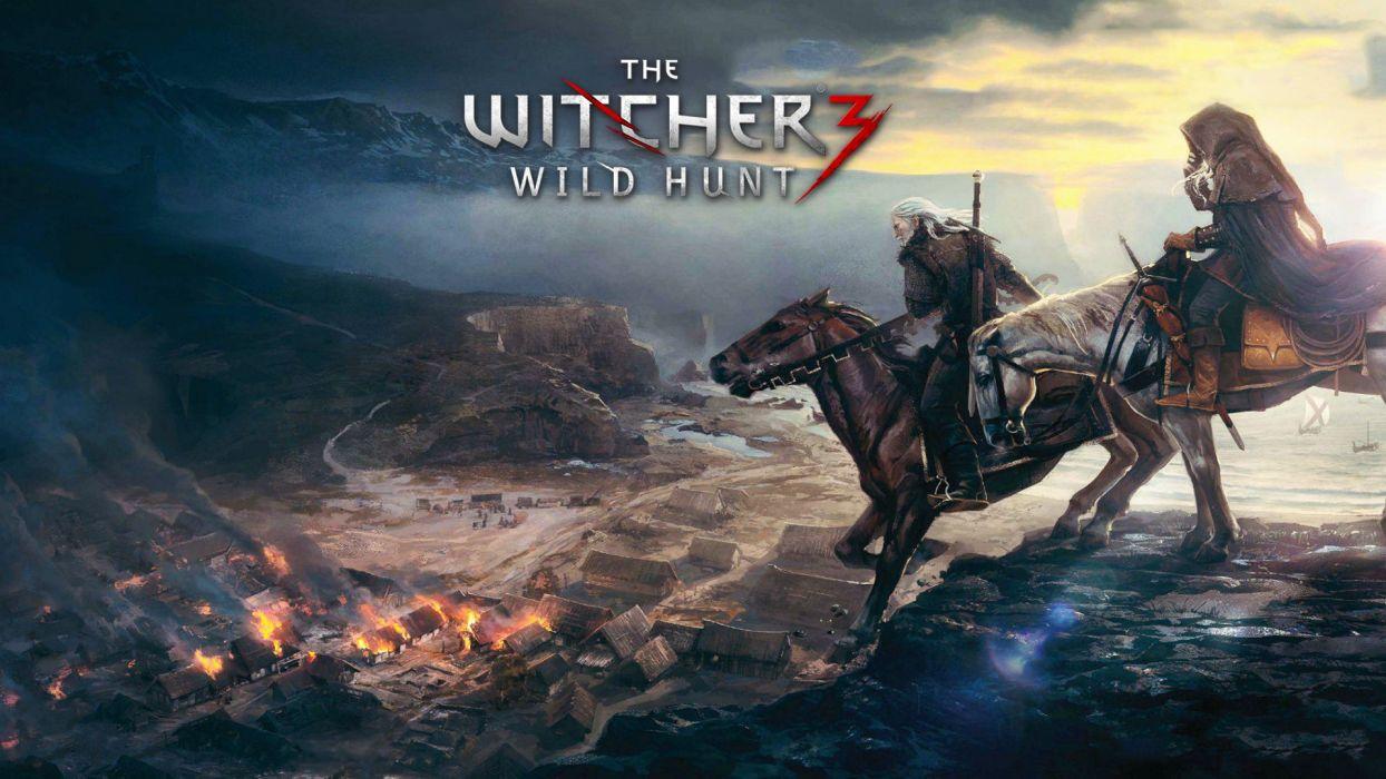 The Witcher Horse Fire warrior wallpaper