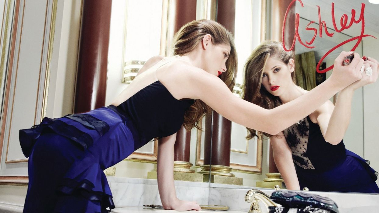 Ashley Benson Reflection Mirror Lipstick brunettes models women females girls sexy babes face wallpaper