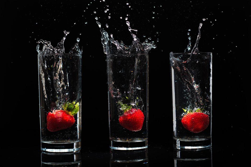 berries  Stanley  background  drops  water  spray  black  glasses strawberries wallpaper