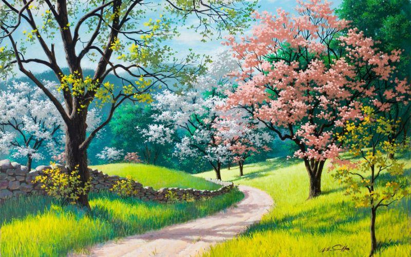 blossoms painting spring arthur saron sarnoff trees path trail fence grass wallpaper