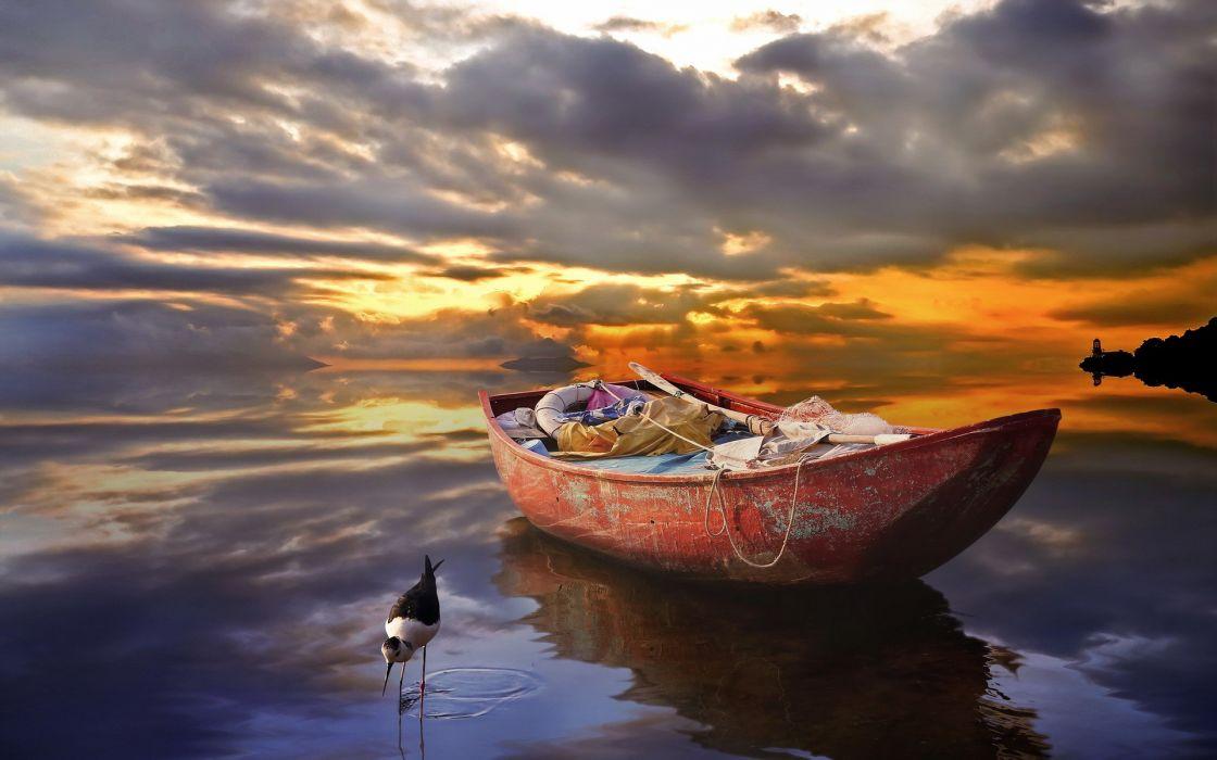 Boat Reflection Lake Sunset Clouds Bird wallpaper