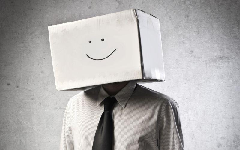 Box Smiley Face monochrome humor wallpaper