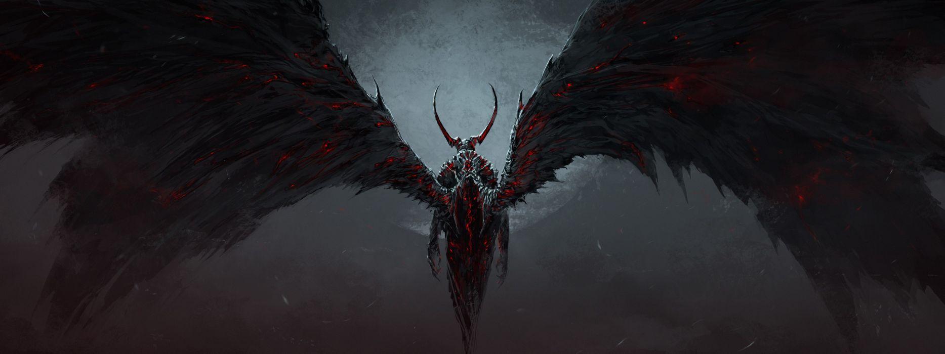 Demon Wings Drawing dark fantasy dual multi wallpaper