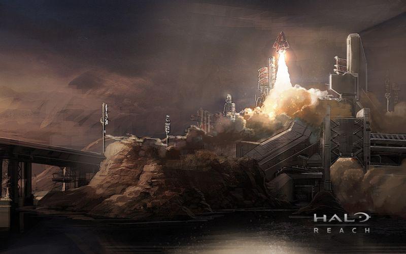Halo Takeoff Launch Rock Spaceship Drawing wallpaper