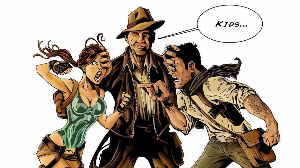 Indiana Jones Lara Croft White Nathan Drake tomb raider humor movies wallpaper