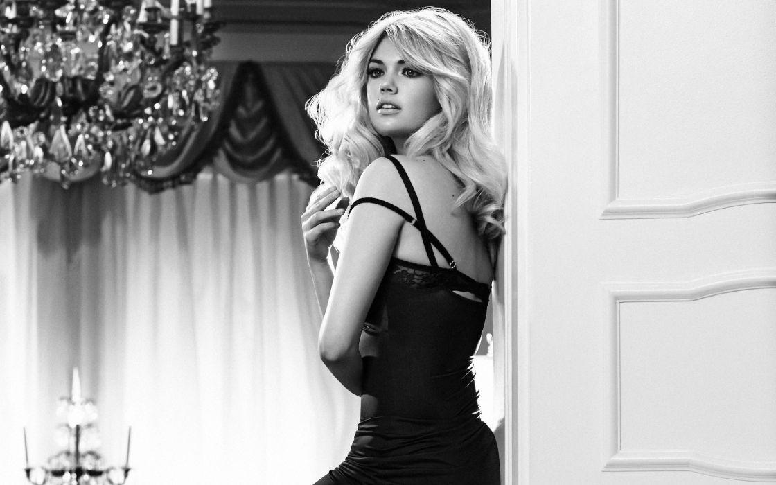 Kate Upton Blonde BW actress models monochrome women females girls sexy babes wallpaper