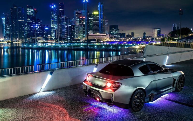 Mazda RX-8 Buildings Skyscrapers Night supercars cities wallpaper