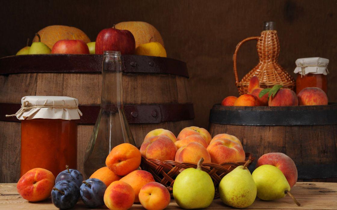 fruit  peaches  pears  Barrels  plum  jam  apples still life wallpaper