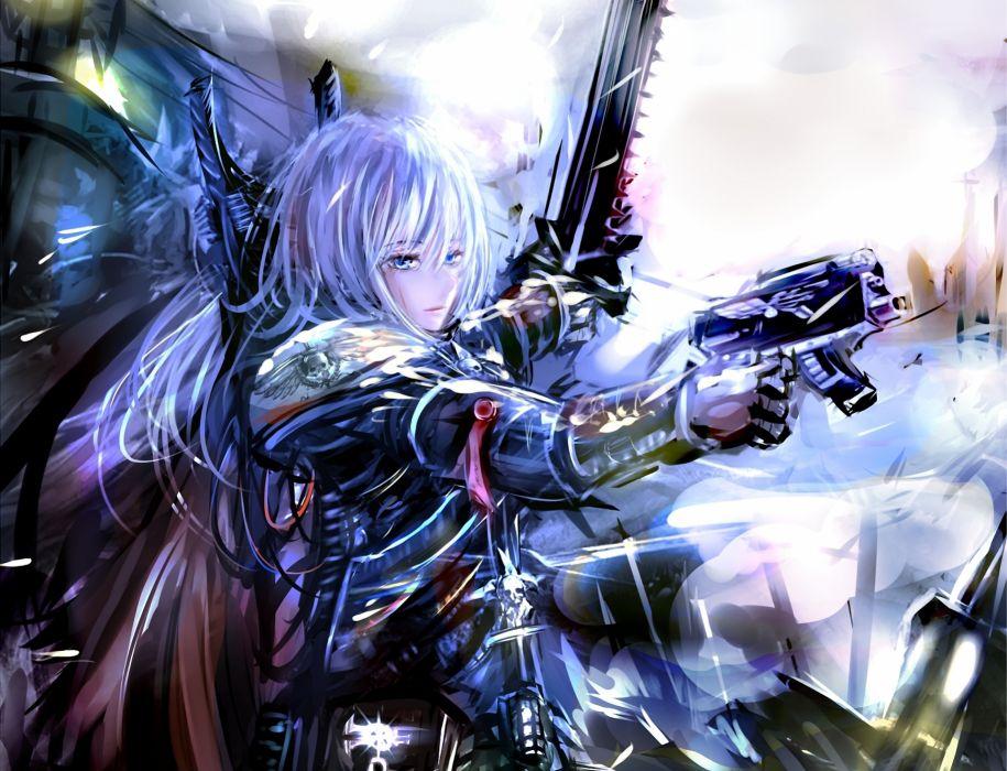 guns  Warhammer 40k  blonde  girl  Sister of Battle girl anime weapons guns wallpaper