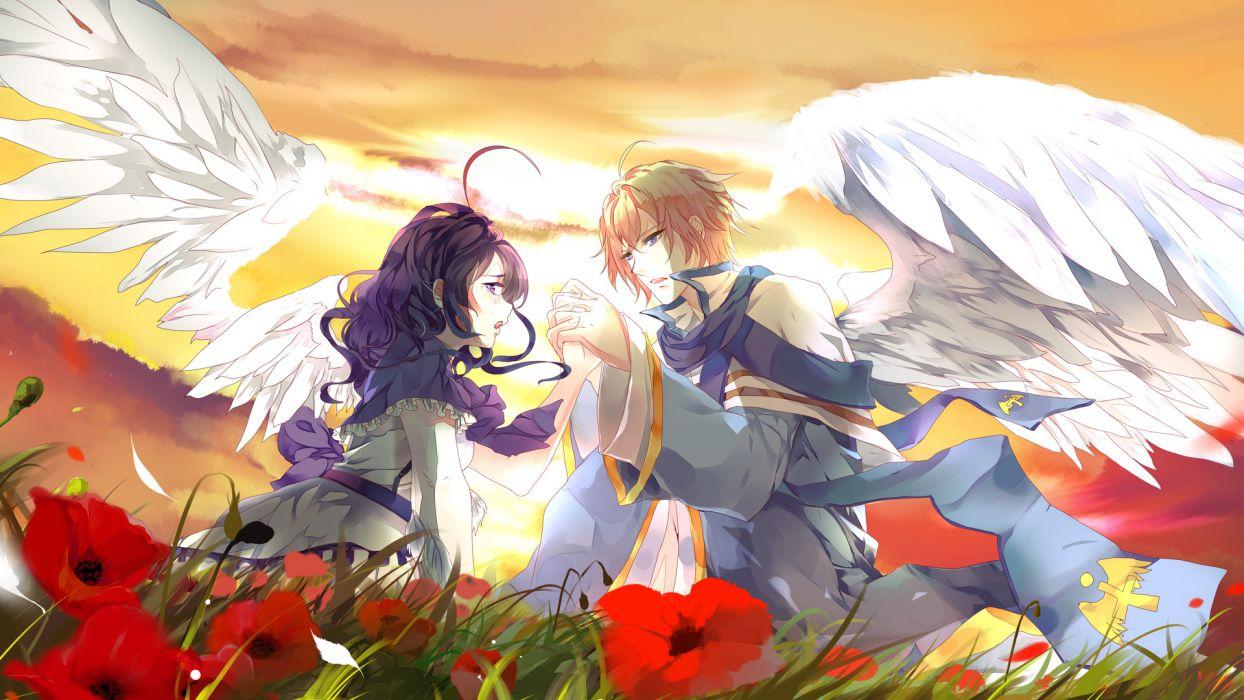 wings  Aiki-AME  lovers  Art  two  boy  girl wallpaper