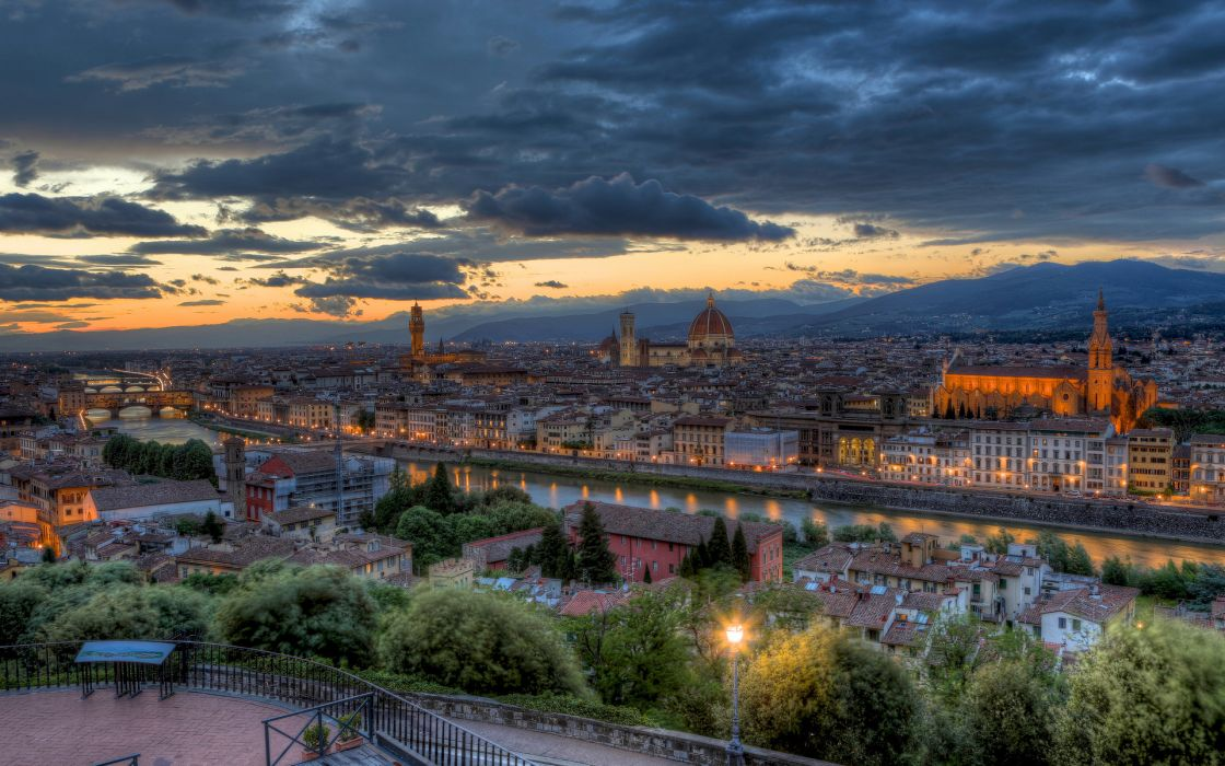 evening  sunset  panorama  Italy  Tuscany  Florence buildings hdr wallpaper