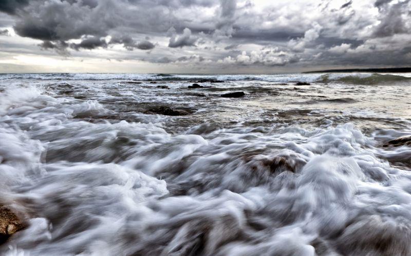 Ocean Clouds sky waves wallpaper