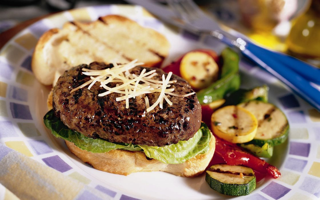 Burger Hamburger Meat Vegetables Macro wallpaper