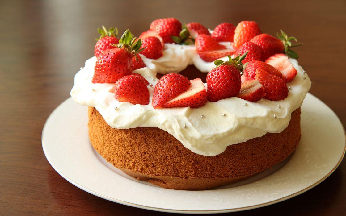 Cake Strawberries Fruit wallpaper