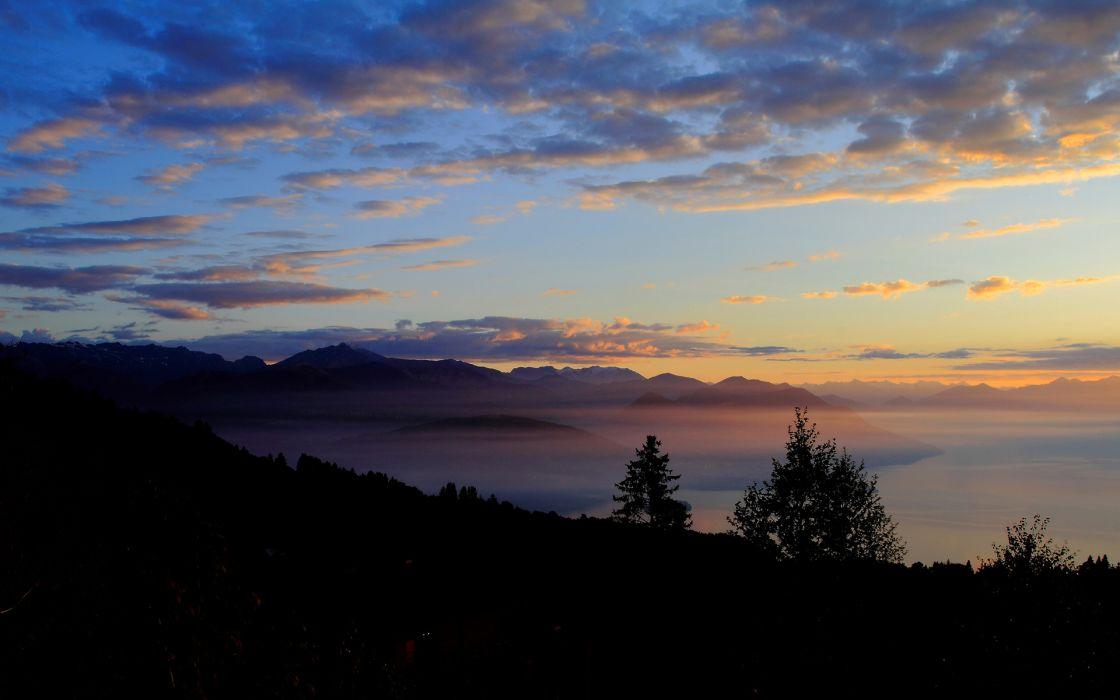 Clouds Landscape sunset mountains wallpaper