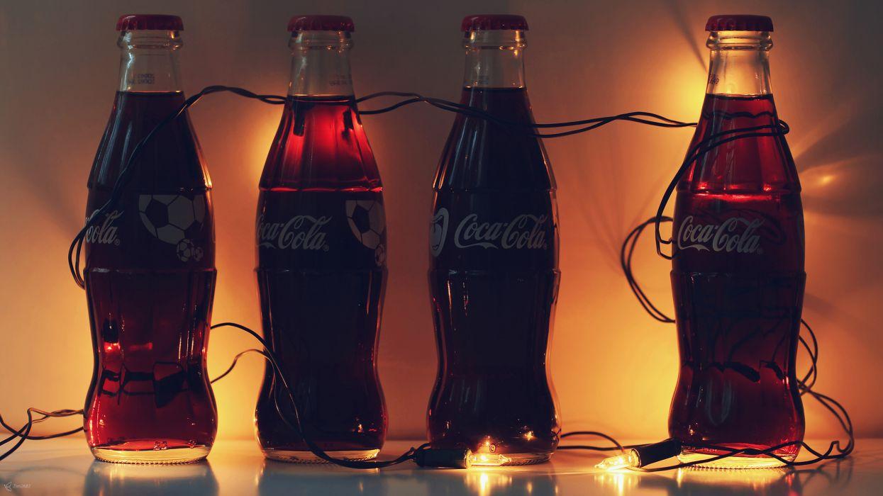 Coca-Cola Coke Soda Bottles Lights cola wallpaper