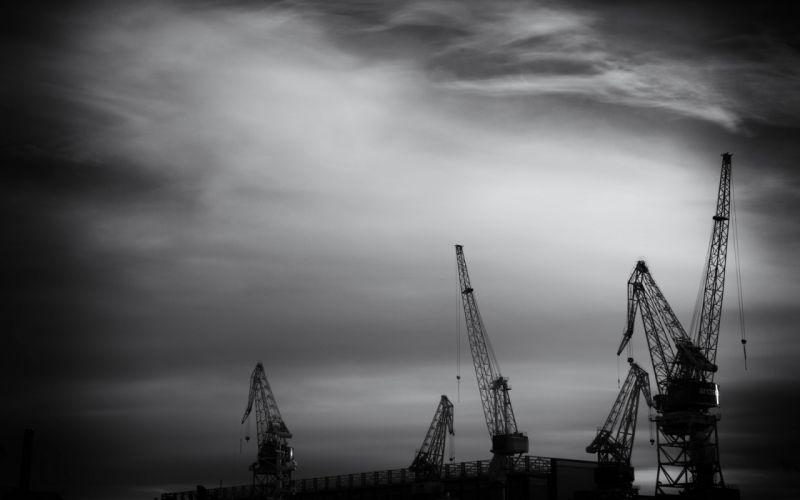 crane machine man-made monochrome sky wallpaper