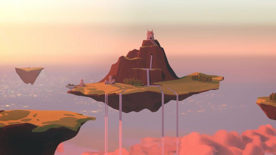 Island Floating Waterfall castle fantasy ocean wallpaper