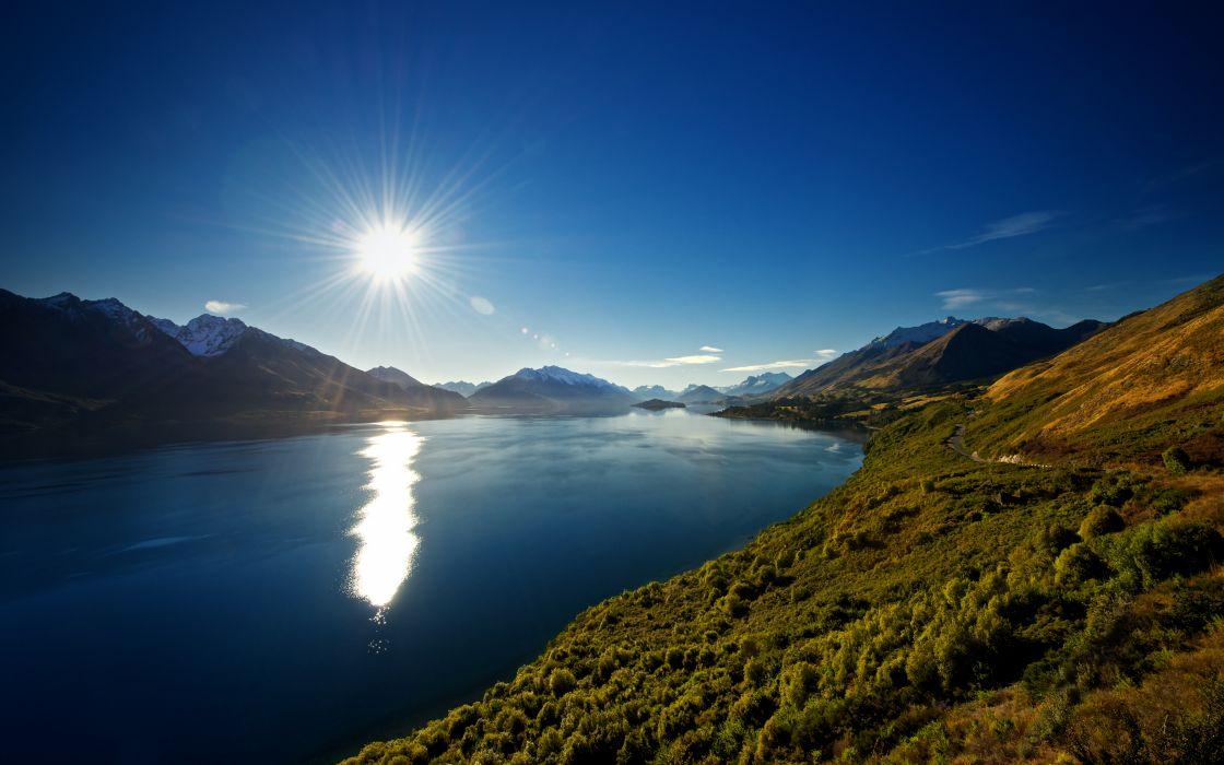 Lake Wakatipu New Zealand Lake Sunlight Landscape Mountains wallpaper
