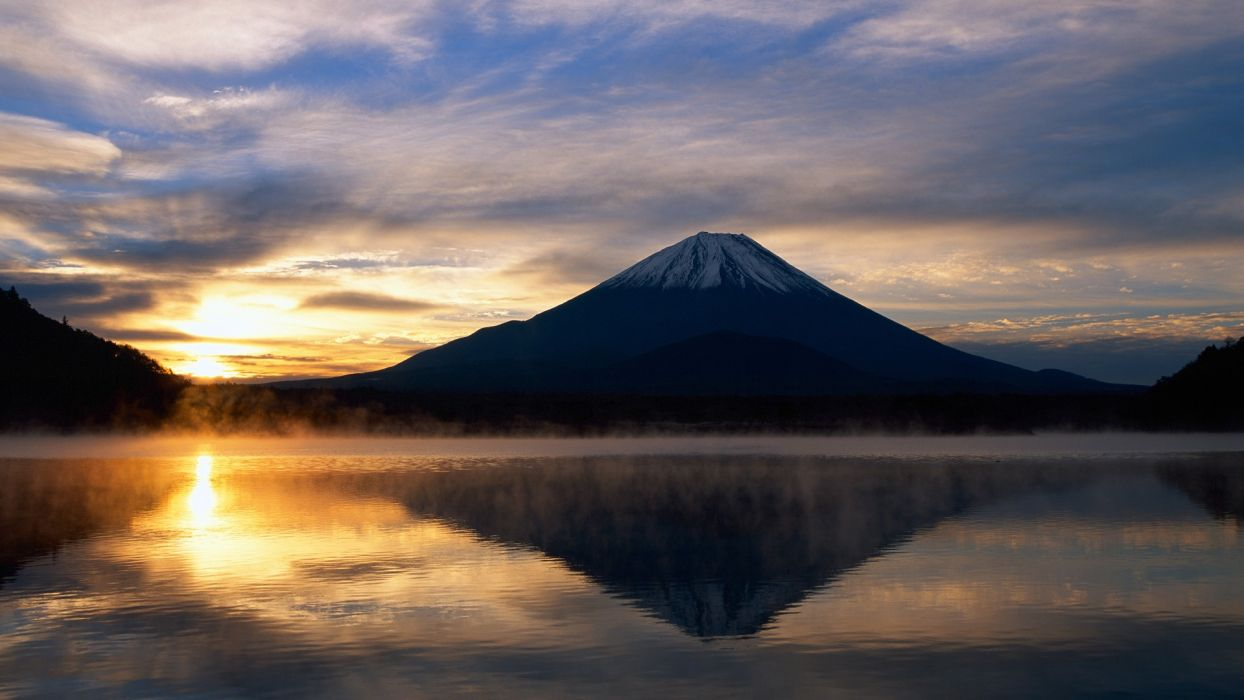 Mountain Sunset Sunlight Reflection Lake volcano wallpaper