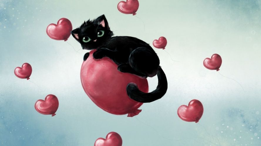 cats hearts cat art love wallpaper