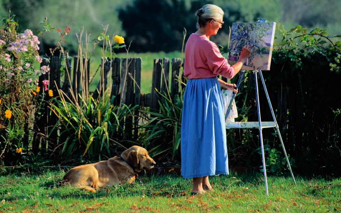 Women Elderly Drawing Painting Canvas Dog Grass Leisure females flowers wallpaper