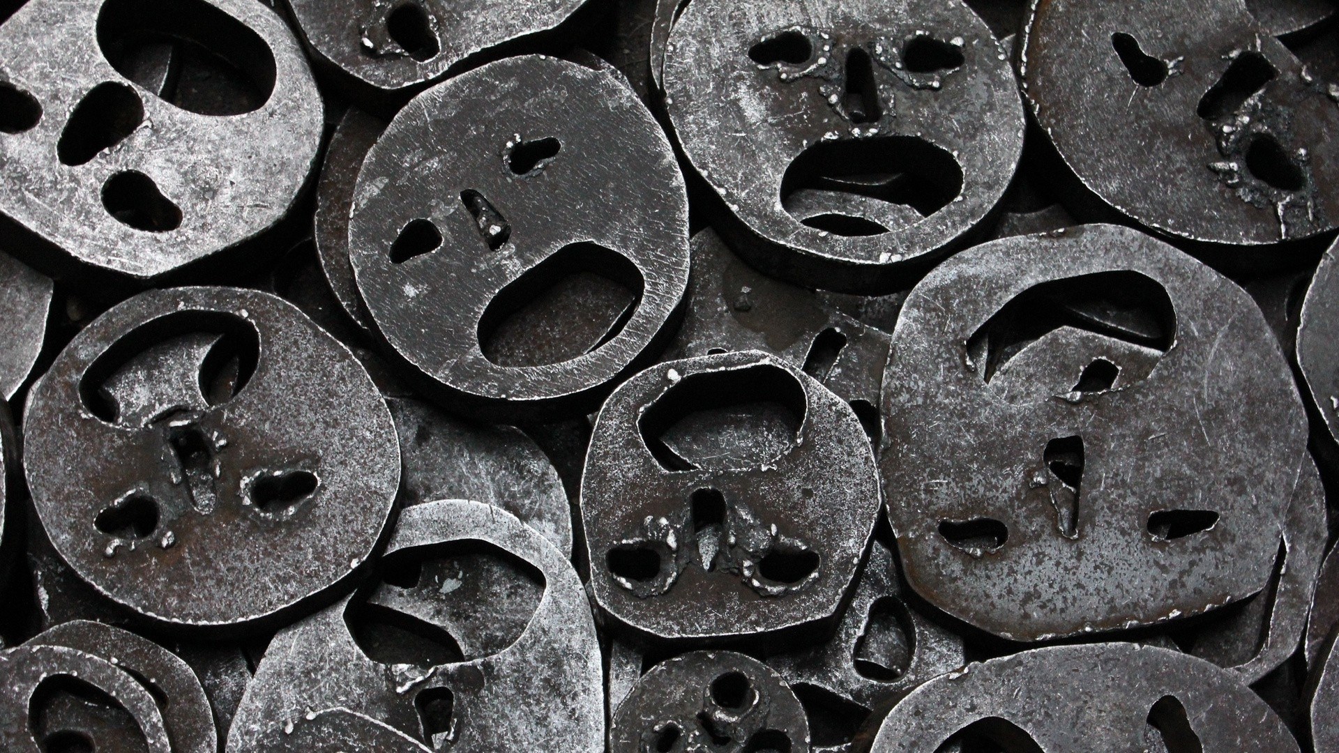 Metal Mask Iron Cut abstract smiley faces dark wallpaper ...