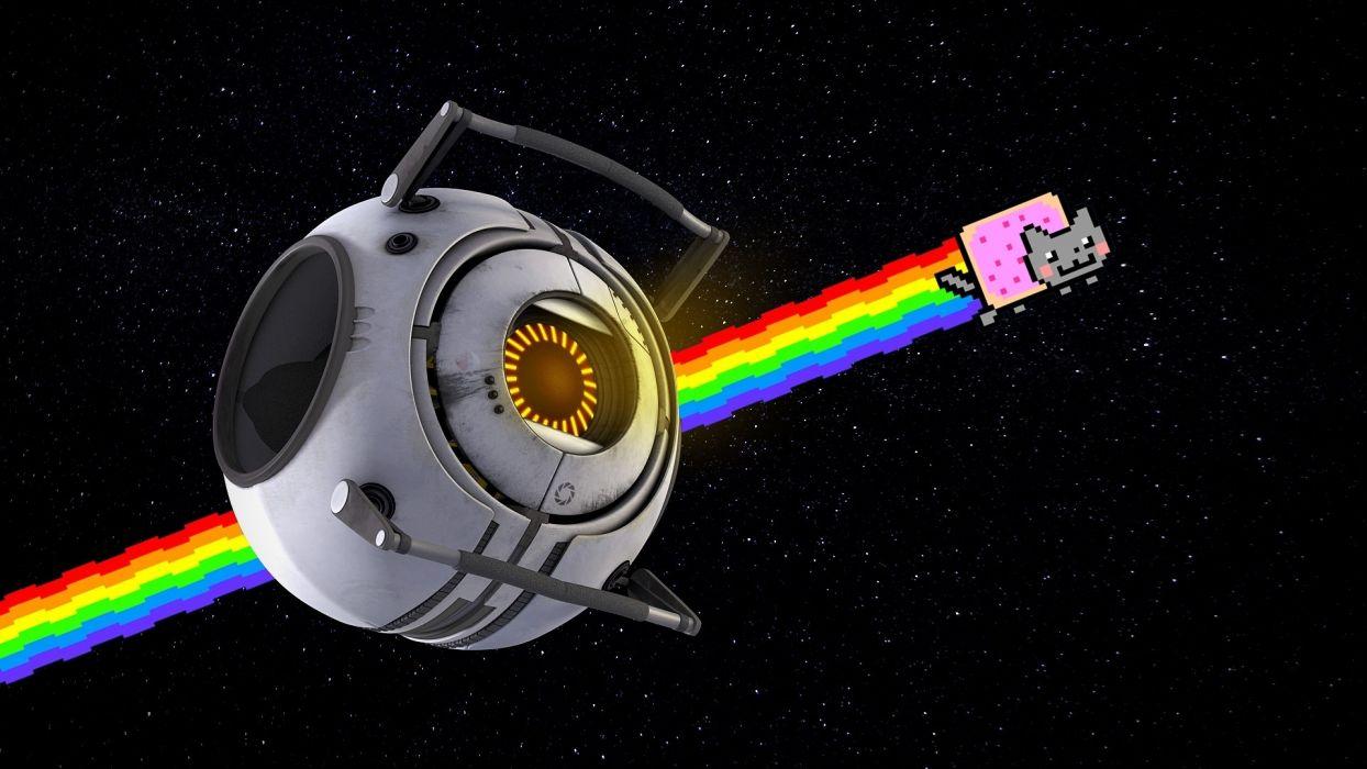 Nyan Cat Rainbow Positive Space portal cartoon sci-fi stars humor rainbow wallpaper