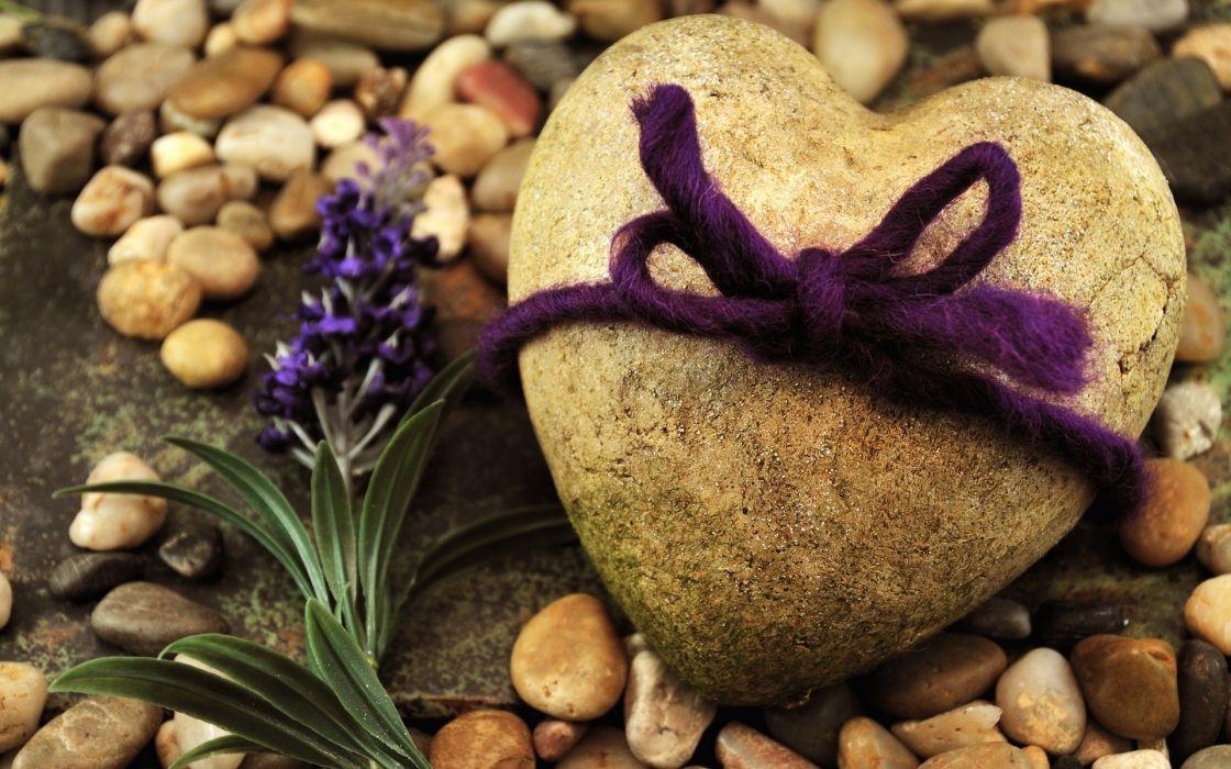Stone Flowers Beach Rope heart mood wallpaper