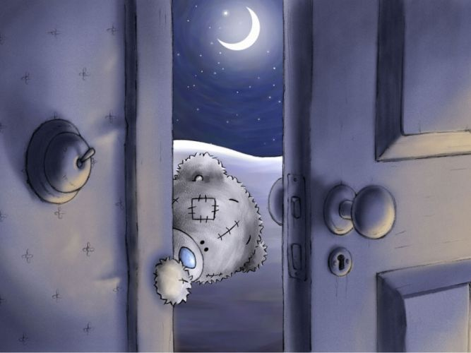 Teddy Bear Look Door Funny humor wallpaper