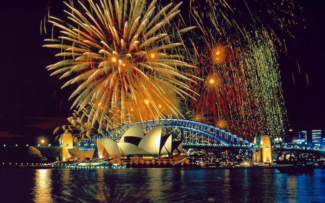 Fireworks buildings holidays new year sky wallpaper