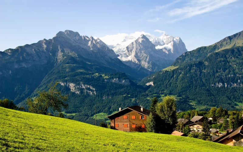 Switzerland Hasliberg buildings houses mountains wallpaper