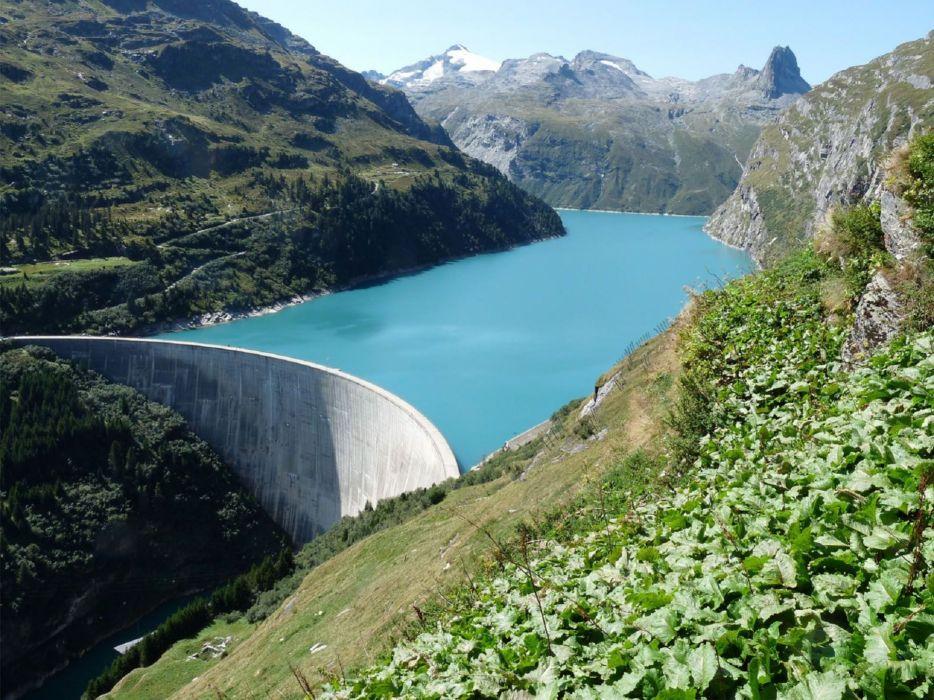 Switzerland Zervreilasee lakes rivers mountains wallpaper