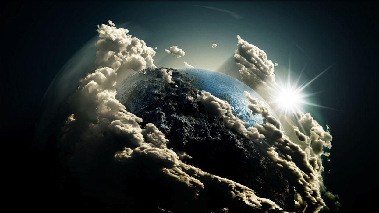 Earth sky sun planets clouds wallpaper