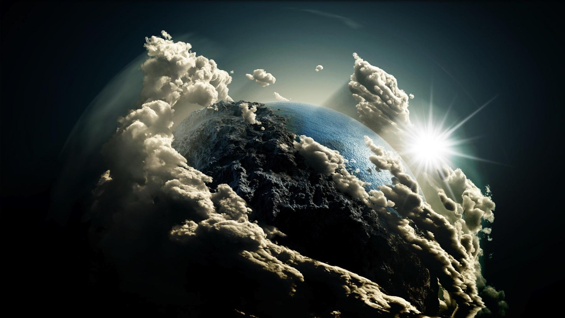 Earth Sky Sun Planets Clouds Wallpaper 1920x1080 47972 Wallpaperup