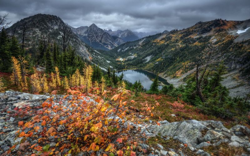 lake landscape mountains autumn hdr trees wallpaper