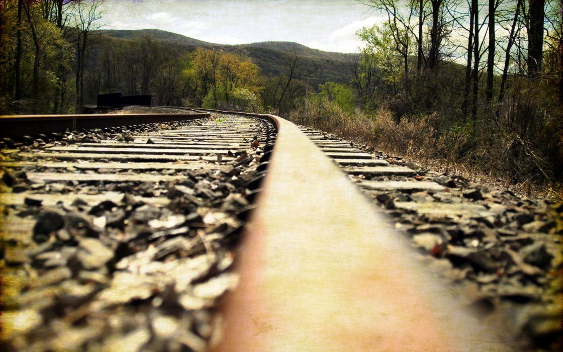 railway  landscape train tracks wallpaper