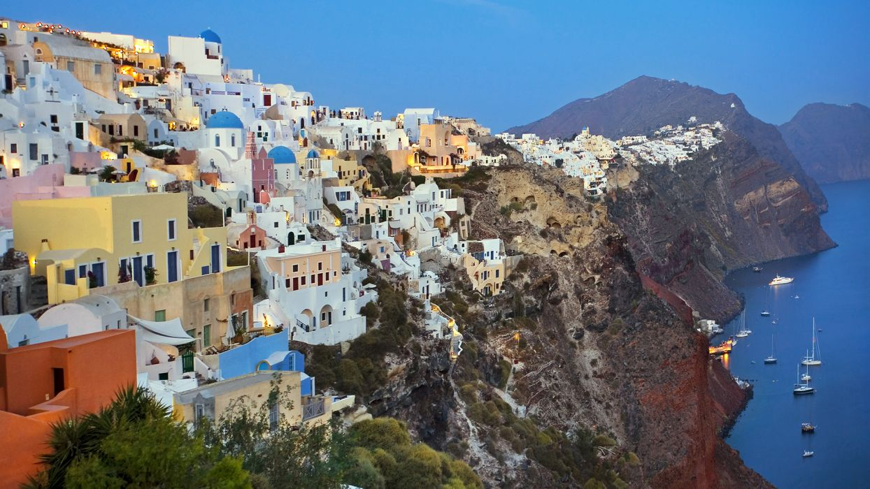 Santorini Greece landscapes buildings architecture cliff mountains boats ship ocean houses wallpaper