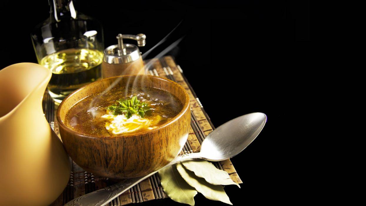 soup  green  cream  spoon  bay leaf  jug  table wallpaper