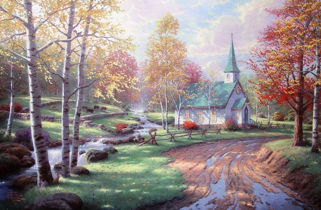 Thomas Kinkade art paintings roads rustic rivers church building architecture trees autumn wallpaper