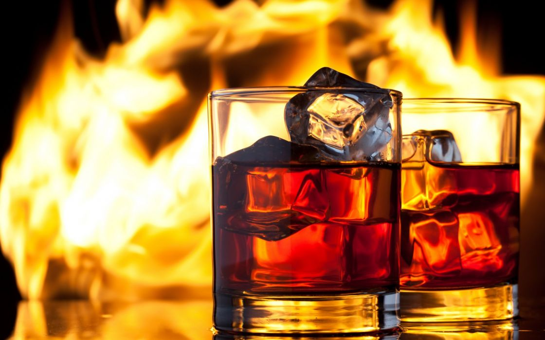 whiskey drink ice glasses fire flame alchohol wallpaper