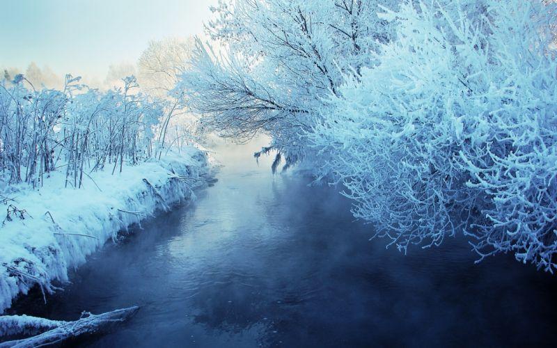 winter river snow landscape wallpaper