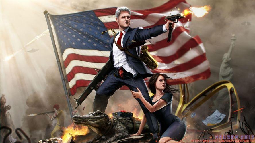 Bill Clinton American Flag Flag Uzi Alligator Monica Lewinsky WTF sadic weapons women females girls men males poloitical wallpaper