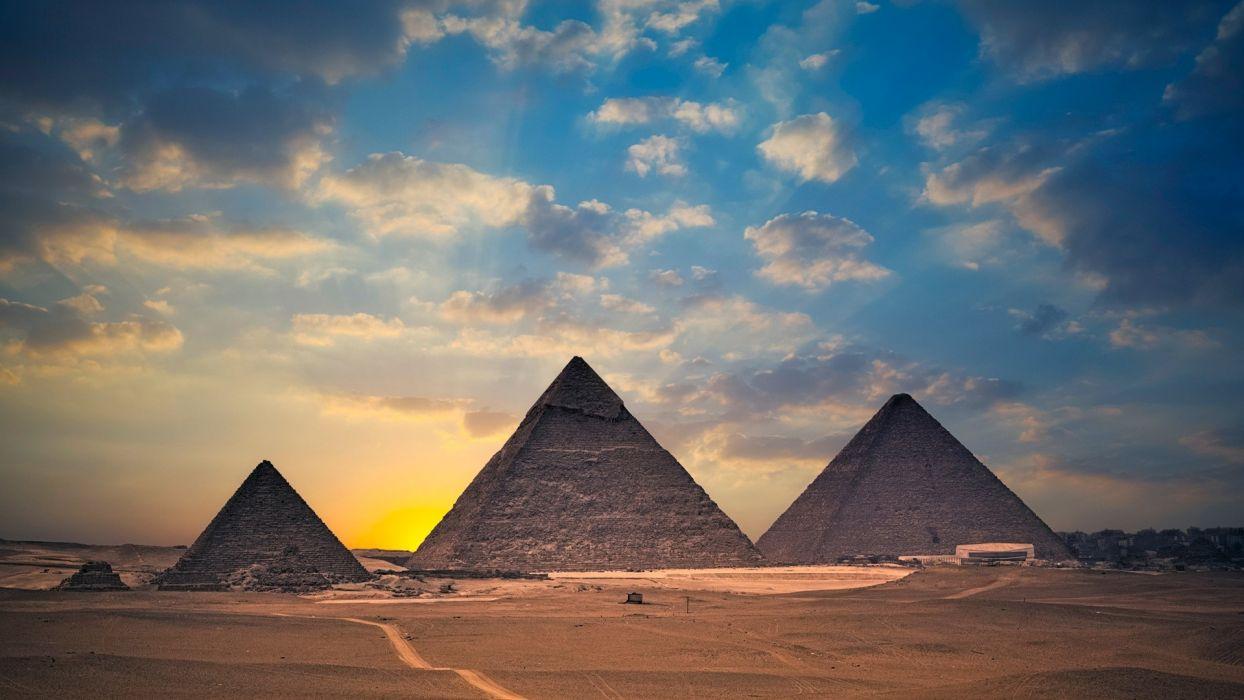 Egypt Pyramids Sunset Desert Clouds buildings wallpaper