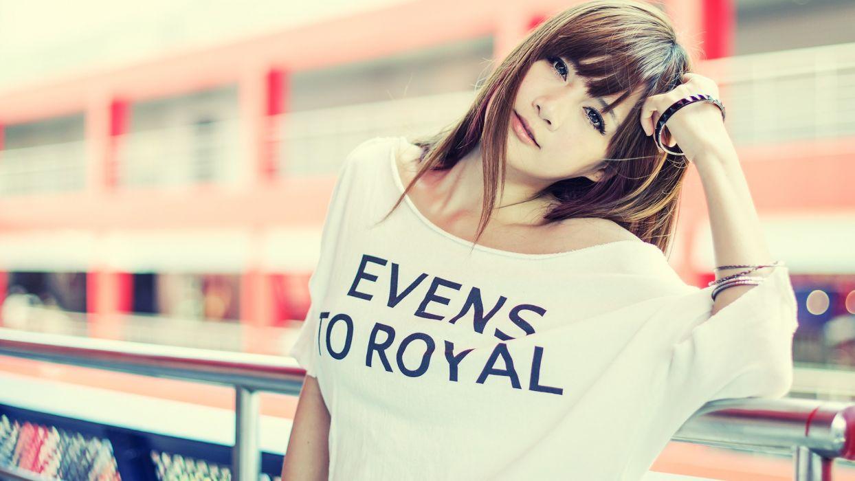 Asian Brunette models women females girls sexy babes face wallpaper