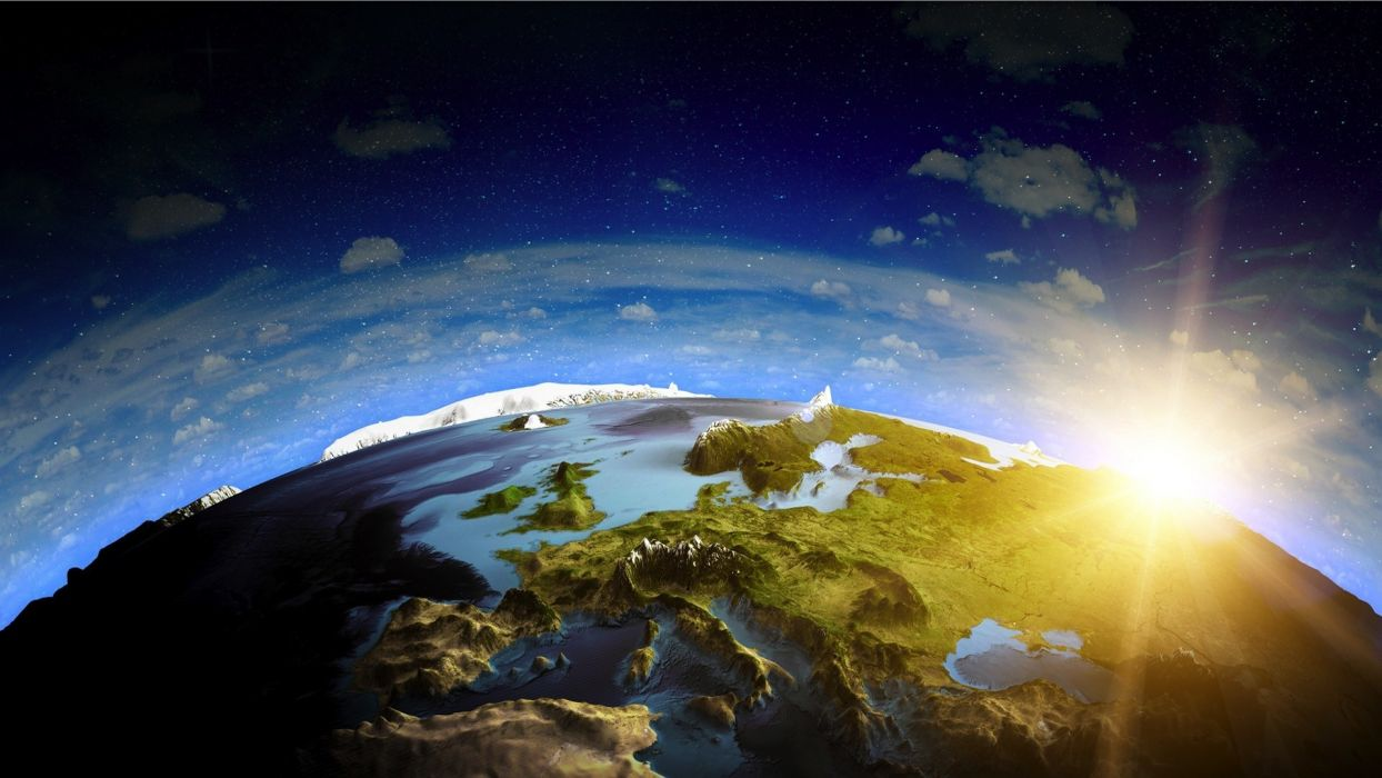 Planet Sunlight Landscape Ocean Stars wallpaper