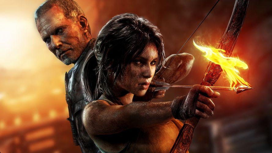 Tomb Raider Lara Croft Fire Bow Arrow women females girls wallpaper