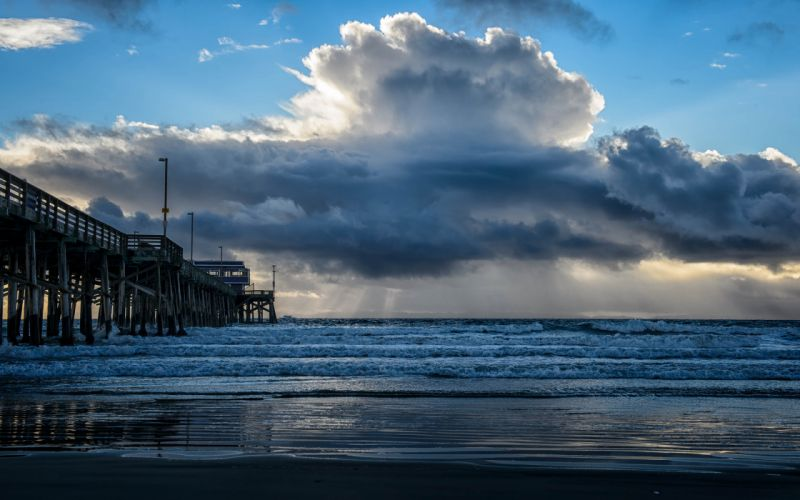 Pier Ocean Clouds Beach waves wallpaper