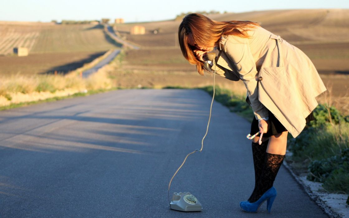 Road Telephone Phone Redhead situation women females girls mood models babes wallpaper